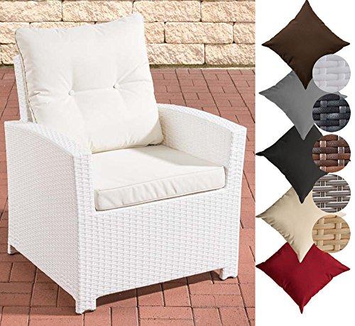 CLP Polyrattan-Sessel FISOLO mit Sitzkissen | Robuster Gartenstuhl mit einem Untergestell aus Aluminium | In verschiedenen Farben erhältlich