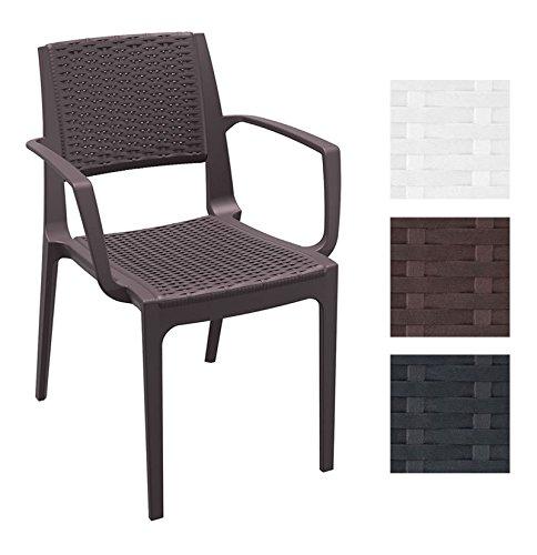 CLP XXL Polyrattan-Gartenstuhl CAPRI mit Armlehnen | Wetterfester Outdoor-Stuhl aus Kunststoff | In verschiedenen Farben erhältlich