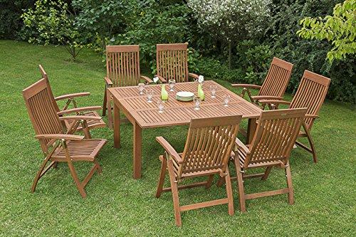 MERXX Gartenmöbel-Set Rom 9-tgl. aus Eukalyptusholz, Klappsessel 5-fach verstellbar und Ausziehtisch
