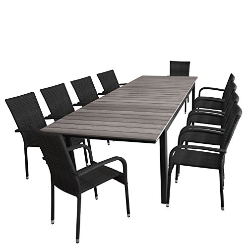Multistore 2002 11tlg. Gartengarnitur Ausziehtisch, Aluminiumrahmen, Polywood-Tischplatte grau, 200/250/300x95cm + 10x Rattanstuhl, stapelbar, Polyrattanbespannung