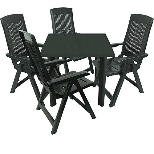 Multistore 2002 5tlg. Gartengarnitur Kunststoff Gartentisch 80x75cm + 4x Klappsessel 5-fach verstellbar Sitzgruppe Sitzgarnitur - Dunkelgrün