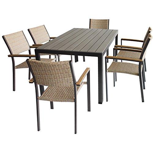 Multistore 2002 7tlg. Gartengarnitur Gartentisch 150x90xH72cm, Alurahmen mit Polywood-Tischplatte + 6x Stapelstuhl mit Armlehne, Alurahmen mit Textilen-Bespannung