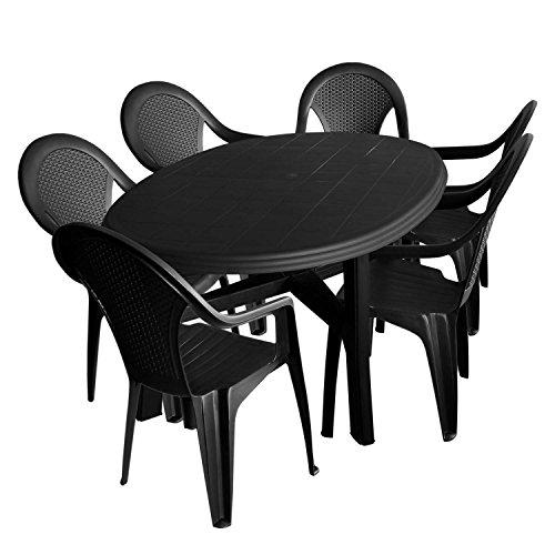 multistore 2002 7tlg gartengarnitur kunststoff gartentisch oval 165x110cm 6x stapelstuhl. Black Bedroom Furniture Sets. Home Design Ideas