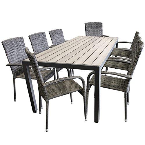 schicke 9tlg gartengarnitur aluminium polywood non wood 205x90cm gartentisch sitzgruppe rattan. Black Bedroom Furniture Sets. Home Design Ideas