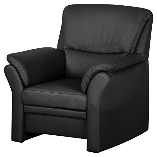 Cavadore 4342 Sessel Klariza, 99 x 102 x 91 cm, Leder Punch kombiniert mit Kunstleder, schwarz