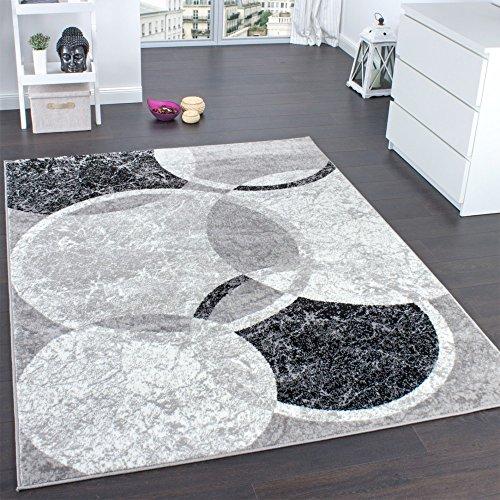 Paco Home Designer Teppich Wohnzimmer Teppich Kreis Muster in Grau Creme Preishammer, Grösse:160x220 cm