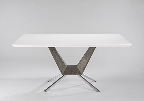 CAVADORE Esszimmertisch FLY/Esstisch in extravagantem Design/Tischplatte MDF Hochglanz weiß lackiert/Säule in Beton Optik/Füße Metall verchromt/160 x 90 x 76 cm (BxTxH)