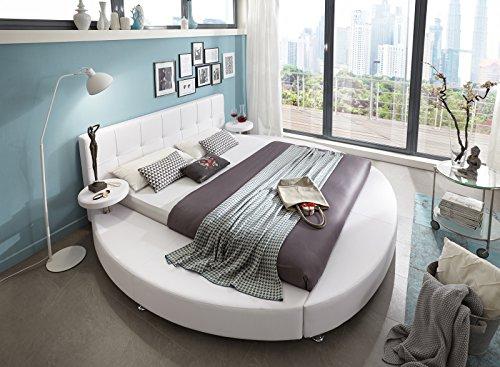 SAM® Polsterbett 160x200 cm, weiß, pflegeleichtes Rundbett mit Kunstlederbezug, abgestepptes Kopfteil, Bett mit Nachttischen [520950]