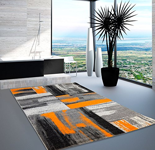 Teppich Modern Designer Wohnzimmer Shake Farbverlauf Orange Grau 80x150 cm