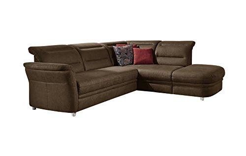 CAVADORE Eck-Sofa Bontlei/Schlaf-Couch mit Kopfteilfunktion und Federkern/Inkl. Stauraum/261 x 88 x 237 cm (BxHxT)/Mikrofaser braun