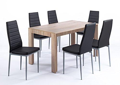 CAVADORE Esszimmertisch SUPPORTER / Moderner Esstisch 140 cm breit mit Melamin-Beschichtung in Eiche sägerau Optik / Küchentisch in hellbraun / 140x80x75 cm (LxBxH)