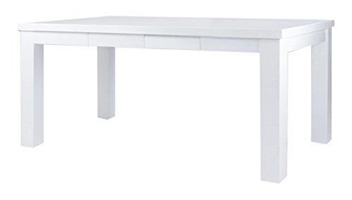 CAVADORE Esstisch ALABAMA/Moderner Küchentisch mit 4 Schubladen/Küchentisch im Landhaus-Stil Hochglanz Weiß lackiertes Holz/160 x 90 x 76 cm (L x B x H)