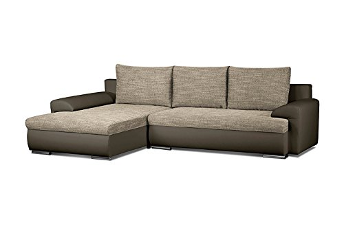 cavadore ecksofa leriot sofa mit strukturstoff und kunstleder longchair rechts oder links. Black Bedroom Furniture Sets. Home Design Ideas