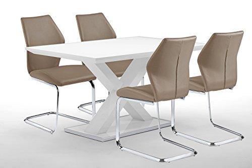 CAVADORE Esstisch XAVER/160 cm Breite/Esszimmertisch in modernem Design mit gekreuzten Beinen/Tisch in Hochglanz Weiß/Rand der Fußplatte Edelstahl poliert/160 x 90 x 75 cm (L x B x H)