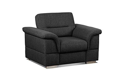 Cavadore Sessel Tuluza / Polstersessel hellgrau passsend zur Sofagarnitur Tuluza/ Modernes Design / Größe: 117 x 87 x 93 cm (BxHxT) / Strukturstoff in schwarz