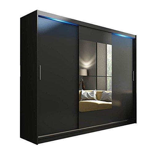 Schwebetürenschrank Kola mit Spiegel, LED-Beleuchtung, Hochwertiges Schlafzimmerschrank, Schlafzimmer, Jugendzimmer, Schiebetür, Garderobeschrank, Elegante (ohne Beleuchtung, schwarz Matt)