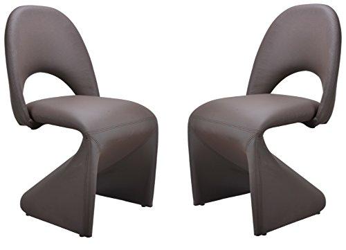 CAVADORE Schwingstuhl 2-er Set LOGAN/2x gepolsterte Esszimmerstühle in modernem Design/Bezug Kunstleder Dunkelbraun/52 x 89 x 55 cm (B x H x T)