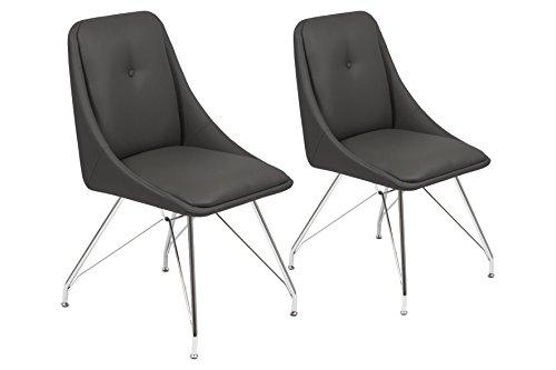 CAVADORE Esszimmerstuhl 2er Set ELEA/2x moderne Stühle mit stilischer Sitzschale/Bezug Kunstleder Schwarz/Gestell Metall verchromt/66x86x60,5cm (BxHxT)
