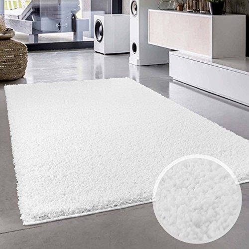Shaggy-Teppich, Flauschiger Hochflor Wohn-Teppich, Einfarbig/ Uni in Weiß für Wohnzimmer, Schlafzimmmer, Kinderzimmer, Esszimmer, Größe: 160 x 230 cm