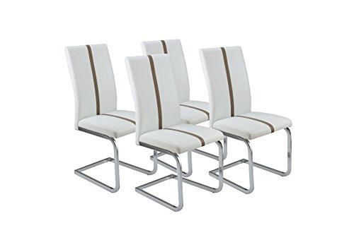 CAVADORE Esszimmerstuhl 4-er Set ENZO, 4x Freischwinger in modernem Design, Bezug Lederimitat Weiß mit cappuccino farbener Applikation, Metallgestell verchromt, 52 x 43 x 100 cm (T x B x H)