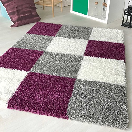 Hochflor Shaggy Teppich kariert in versch. Farben und Größen Langflor Teppiche für Wohnzimmer und Jugendzimmer. (60 x 110 cm, Violett)