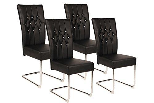CAVADORE Esszimmerstuhl im 4er Set SONJA/Freischwinger in modernem Design/4 Stühle Schwarz mit 10 Kristallen im vorderen Rücken/44 x 102 x 58 cm (BxHxT)