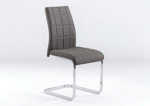 CAVADORE Schwingstuhl 2-er Set COBRA / 2x Freischwinger in modernem Design / Küchenstuhl gepolstert / Esszimmerstuhl Lederimitat Schlamm-farben / Gestell Metall verchromt / 55 x 43,5 x 91cm (TxBxH)