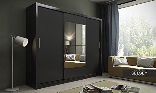 Keir - Schiebetür Kleiderschrank mit großem Spiegel (Schwarz Matt)