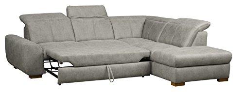 Cavadore 5129 Polsterecke Bules, 3-Sitzer mit Bettfunktion echt bezogen links, Spitzecke, Abschlusselement 1-sitzig mit Kopfteilverstellung rechts, 274 x 81 x 232 cm, Iguana silver 02