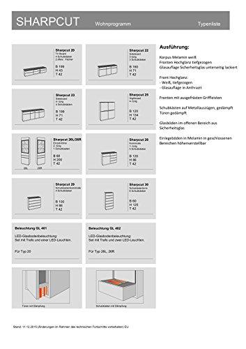 CAVADORE Kommodenschrank Sharpcut-Living in Hochglanz Weiß foliertem Holz/Kommode mit extra viel Stauraum/Glasauflage in Graphit-Optik/42 x 100 x 86 cm (T x B x H)