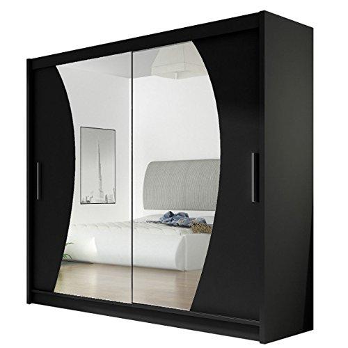Kleiderschrank mit Spiegel London IX, Schwebetürenschrank, Schiebetürenschrank, Modernes Schlafzimmerschrank 180x215x57cm, Garderobe, Schlafzimmer (Schwarz)