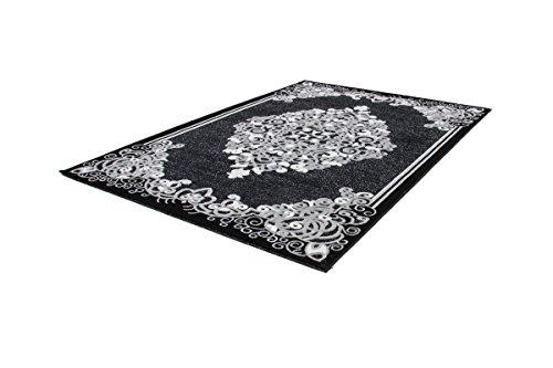 Kayoom_Wohnzimmer Teppiche_mit attraktiven Farben und Muster_Turkey - Amasya Schwarz 80cm x 150cm, Teppich Größe:80cm x 150cm, Teppich Farbe:Schwarz
