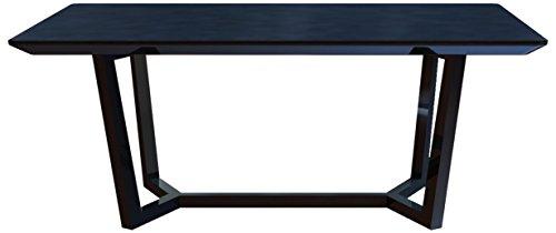 CAVADORE Esszimmertisch JOY 160 cm/Formschöner Speisezimmertisch mit matter, schwarz lackierter Glasplatte auf schwarz lackierter Holz-Optik/160x76x80cm (BxHxT)