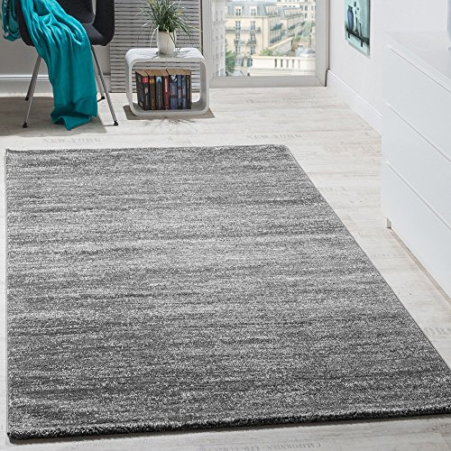 Teppich Kurzflor Modern Gemütlich Preiswert Mit Melierung Grau Anthrazit Creme, Grösse:120x170 cm