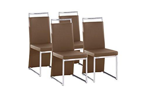 CAVADORE Esszimmerstuhl 4-er Set SCARLETT/4x Stühle in modernem Design mit Griff und langem Rückenteil/Bezug Lederimitat Cappuccino/Gestell verchromt/58 x 45 x 100 cm (T x B x H)