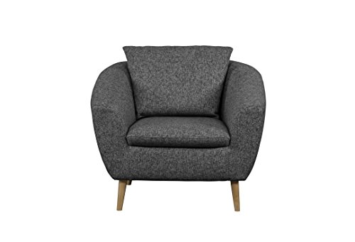 Cavadore Sessel Flira mit Rückenkissen / Sessel im modernen skandinavischen Design mit Holzfüßen in Buche natur / 3-2-1  Garnitur / Größe: 99 x 78 x 89 cm (BxHxT) / Strukturstoff in Grau (hellgrau/dunkelgrau)