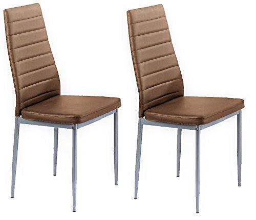 CAVADORE Küchenstuhl 2er Set PEGASUS / 2x Esszimmerstuhl in zeitlosem Design / Lederimitat Bezug cappuccino braun mit Steppung / Füße Metall silber / 42 x 96,5 x 53,5 cm (B x H x T) / 2 Stück