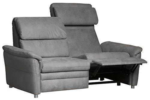 Cavadore Polstergarnitur Chalsay inkl. Relaxfunktion und Kopfteilverstellung / 3-Sitzer, 2-Sitzer und Sessel / mit Federkern / moderne Polstergruppe / Sofa 3-sitzig: 179 x 94 x 92 cm; Sofa 2-sitzig: 145 x 94 x 92 cm; Sessel: 90 x 94 x 92 cm (BxHxT) / Farbe: Grau (argent)