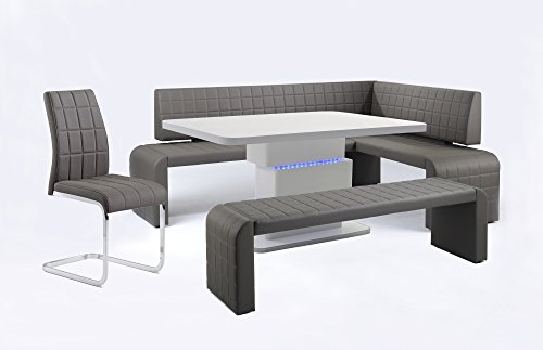 CAVADORE Vorbank COBRA/Küchenbank 140 cm breit in schlamm/Moderne, gepolsterte Sitzbank/Kunstleder-Bank schlamm braun/Bank ohne Lehne/Sitzmaß : 140 cm/162 x 50 x 48,5 cm (B x T x H)
