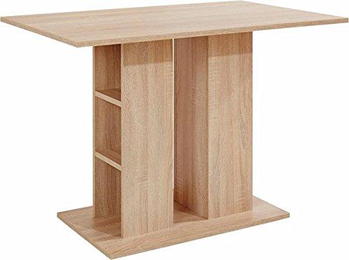 CAVADORE Säulentisch MULAN/Moderner Esstisch aus Melamin Sonoma Eiche beige/passend zur Eckbank MULAN/Küchentisch mit Stauraum/mit Ablage/110 x 70 x 75 cm (L x B x H)