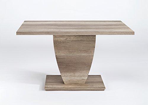 CAVADORE Esszimmertisch BARCA / Küchentisch 160 cm breit / Moderner Esstisch in Monument Eichenholz Optik / Säulentisch  in Eichenoptik dunkel / 160 x 90 x 75cm (L x B x H)