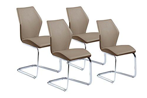 CAVADORE Schwingstuhl 4-er Set SNAP/4x Freischwinger in modernem Design/Bezug in Cappuccino - seitliche Applikation Braun/Gestell verchromt/61 x 45 x 90 cm (T x B x H)