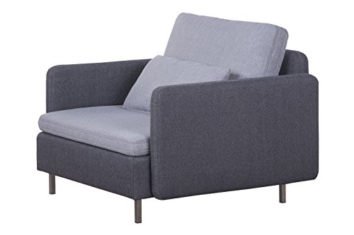 Cavadore Sessel Scrubbles, Loungesessel im Material-Mix, 106 x 73 x 98 cm (BxHxT), Hellgrau, grau
