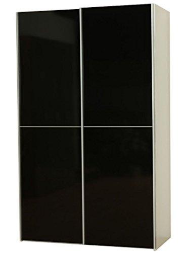 Dynamic24 Kleiderschrank Verona weiß schwarz hochglanz Schiebetüren Schlafzimmer Schrank