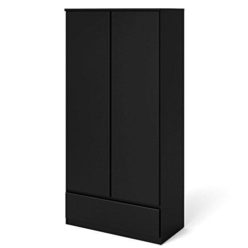 Dynamic24 2trg. Kleiderschrank Naia Schlafzimmer Schrank Jugendzimmer Möbel schwarz matt
