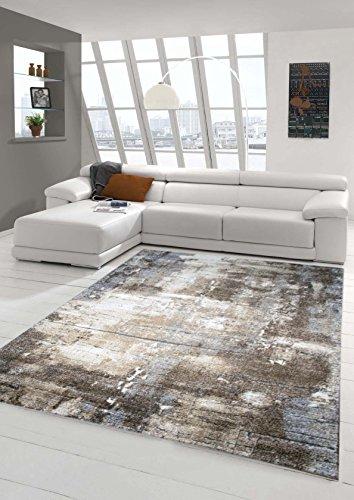 Designer Teppich Moderner Teppich Wohnzimmer Teppich Barock Design Steinmauer Optik in Braun Beige Grau Creme Meliert Größe 80x150 cm