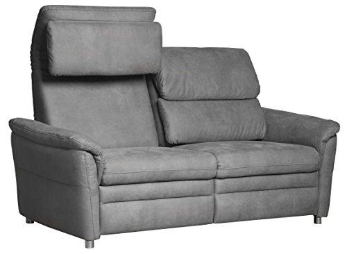 Cavadore 2-Sitzer Sofa Chalsay inkl. verstellbarem Kopfteil / mit Federkern / moderne Relax-Couch / Größe: 145 x 94 x 92 cm (BxHxT) / Farbe: Grau (argent)