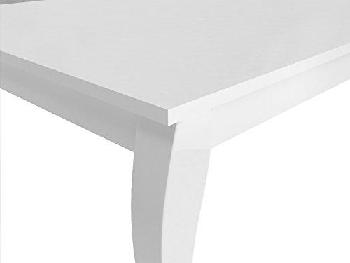 CAVADORE Esszimmertisch MATILDA / großer Küchentisch in klassischem Design / elegant geschwungene Tischbeine / Hochglanz weiß lackiert / 160 x 90 x 75cm (LxBxH)