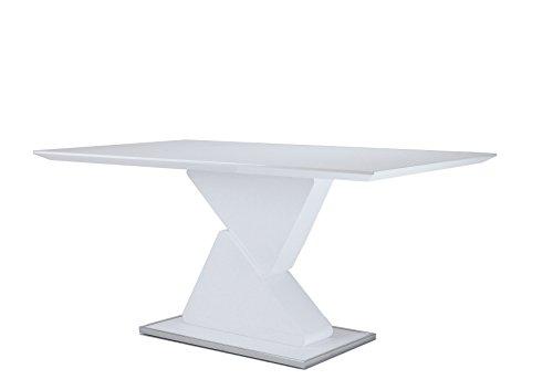 CAVADORE Esszimmertisch CUBE/Moderner Esstisch in Hochglanz Weiß mit viel Beinfreiheit/Küchentisch mit formschöner Säule/Bodenplatte, Rand chromfarben/160x90x76 cm (LxBxH)
