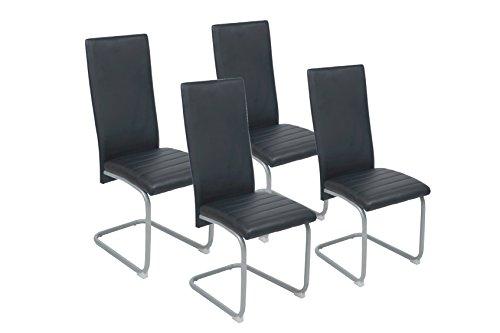 CAVADORE Esszimmerstuhl 4er Set FREDDY/4x moderne Schwingstühle/4 Stück Schwinger mit Bezug Kunstleder SCHWARZ/mit silberfarbenem, pulverbeschichtetem Untergestell/44 x 98,5 x 57 cm (B x H x T)